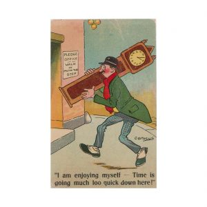 Drunk Carrying a Clock Postcard