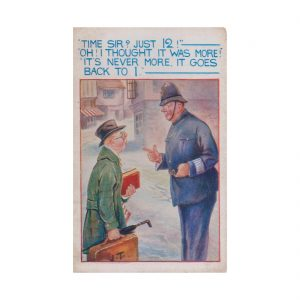 Asking a Policeman the Time Postcard