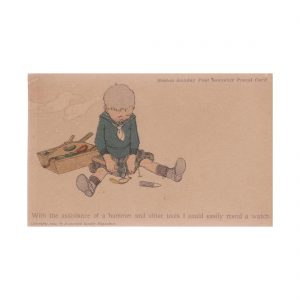 Child Meding a Watch Postcard