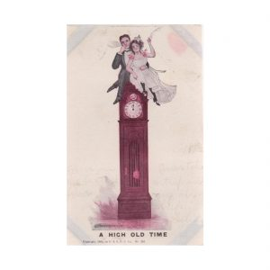 Wedding Couple Sitting on a Clock Postcard