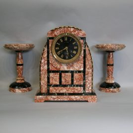 French Marble Clock with Garnitures
